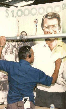 Working on Earl Anthony Mural